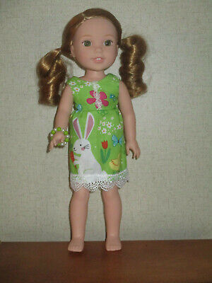 """HANDMADE EASTER DRESS Fits 14.5"""" Wellie Wishers Doll American Girl Clothes"""