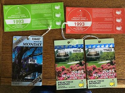 Masters Golf Practice Round tickets-Lot of 5