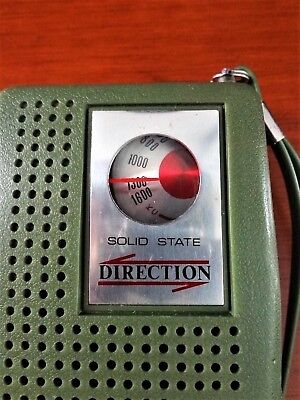 Old Green Direction Transistor Radio 1960's Am Works Great Olive Green