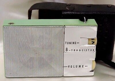 Vintage Rose Jubilee Transistor Radio Green & Silver Black Leather Case Japan