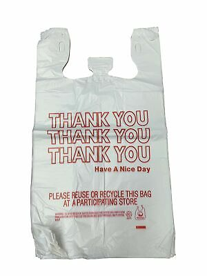 """HDPE Handled Plastic T-Shirt Bags, Grocery Bags, White with""""Thank You"""" Print,..."""
