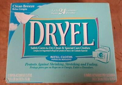 DRYEL at-home dry Cleaning clean breeze scent (6 REFILLS in 1 Box) Discontinued