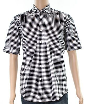 Club Room NEW Black White Mens Size Large L Button Down Checked Shirt $49 212