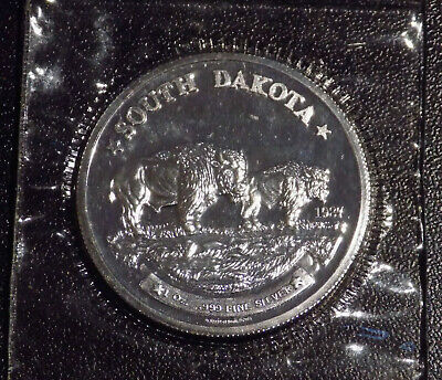 Great Seal of State of South Dakota Buffalos 1 oz .999 fine silver round