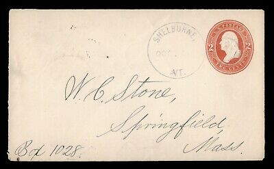 DR WHO SHELBURNE VT FANCY CANCEL STATIONERY TO SPRINGFIELD MA  d92987