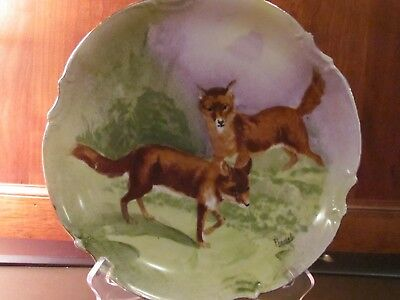 """Limoges 100 Years Old Hand Painted 9 1/2"""" Plate, Foxes, Artist Signed"""