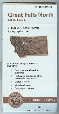 USGS Topographic Map GREAT FALLS NORTH Montana - 1976 photoinspected 1990 - 100K
