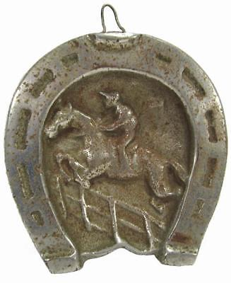 Antique Horseshoe Horse Racing Wall Hanging Plaque Chrome Plate 13 x 11 cm