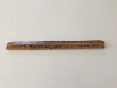Vintage Peters Ice Cream Advertising 15 Inch Timber Measuring Ruler Made in USA