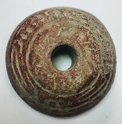 Scarce Pre-Columbian Mayan Large Pottery Spindle Whorl Ceremonial Ancient Aztec