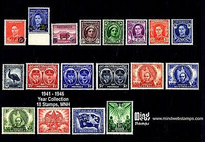 Australian Pre-Decimal Stamps 1941-1946 Year Set Collection (18) MNH