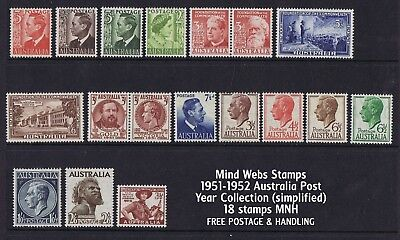 Australian Pre-Decimal Stamps 1951-1952 Year Collection (18) MNH SPECIAL!!