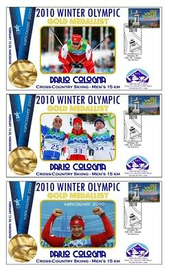 Dario Cologna 2010 Olympic Set Of Gold Medal Covers