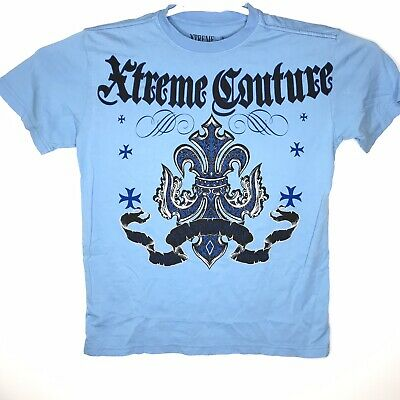 Xtreme Couture By Affliction Mens Sz Medium Blue Graphic Short Sleeve T-Shirt
