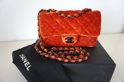 2a28132eeba267 100% Auth. CHANEL Coral Velvet Quilted Mini Rectangular Flap Bag Limited  Edition
