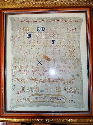 Antique American Primitive 18th C 1700s Linen Sampler Mary Gurst aged 14 Florals