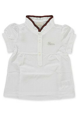 0adac57d1 NWT NEW GUCCI baby girls white pique polo T-shirt top red green web ...