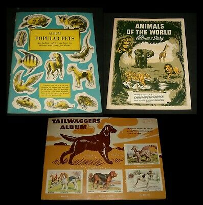 3 x VINTAGE WEETIES CEREAL CARD ALBUMS - TAILWAGGERS , ANIMALS - PETS