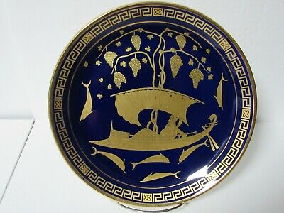 Greek Hand Made Contemporary  Porcelain  Cobalt Blue 24kt Gold Decorative Plate