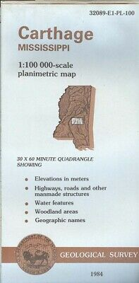 USGS Topographic Map  CARTHAGE Mississippi 1984 - 100K -