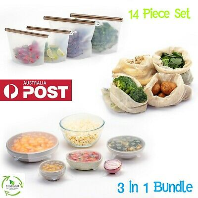 Reusable Food Storage Silicone Food Bags Silicone Stretch Lids Mesh Produce bags