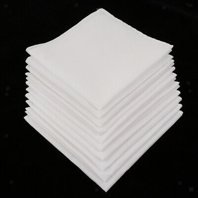 10pcs Mens White Handkerchiefs 100% Cotton Square Super Soft Washable Hanky