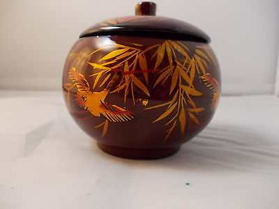 Trinket Lacquered Lidded Bowl Dish Brown with Gold Bamboo & Crane Design Vintage