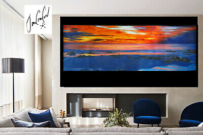 LARGE SIZE SUNSET PAINTING OCEAN CANVAS SEASCAPE 2100mm jane crawford Australia