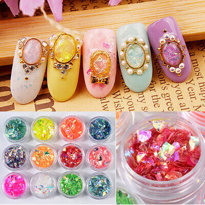 12 Colors Candy Shell Paper Nail Art Irregular Broken Flakes Glass Paper Decor