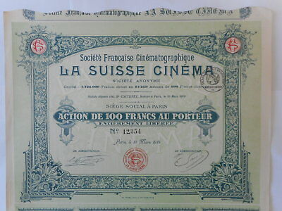 Francaise CINEMATOGRAPHIQUE la SUISSE CINEMA 1919