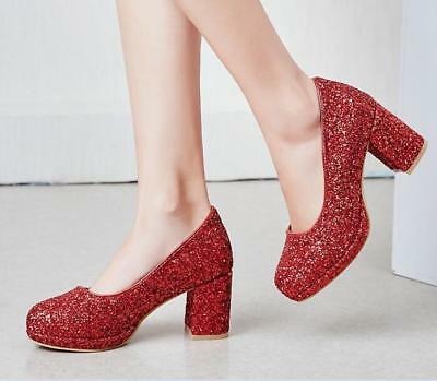 Womens Ladies Suede Sequins Shiny Pumps Block Heel Wedding Club Party Shoes NEW