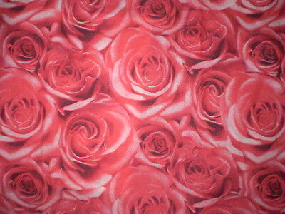 Gorgeous LARGE RED FLORAL ROSE Fabric Remnant (105cm x 150cm)
