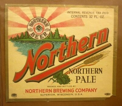 OLD BEER LABEL 1950s USA, NORTHERN BREWING Co SUPERIOR WISCONSIN, PALE BEER