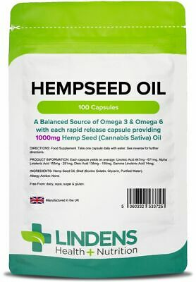 Hemp Seed Oil High Strength 1000mg 100 Capsules Hempseed Omega 3&6