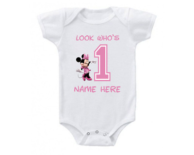 f2cc693aa Minnie Mouse Birthday Onesie Shirt Personalized Look Who's 1st 2nd 3rd 4th  5th
