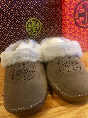 483840d7933 NIB Tory Burch Coley Slippers Split Suede Perforated Elephant Gray Size 8