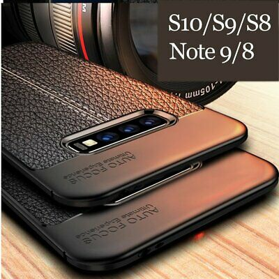For Samsung Galaxy S10 S9 S8 Plus Hybrid Leather Rubber Soft Slim Case Cover