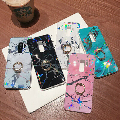 For Samsung S10 S9 S8 S7 edge soft marble phone case with ring holder kickstand