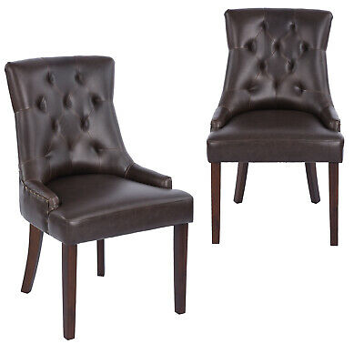 Brown Bonded PU Leather Tufted Dining Chairs Accent Chair Set of 2