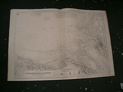 Vintage Admiralty Chart 1170b UK - GREAT ORMES HEAD to LIVERPOOL 1918 edn