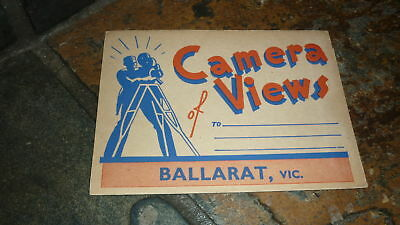 OLD AUSTRALIAN POSTCARD VIEW FOLDER. FROM THE 1950s BALLARAT VICTORIA