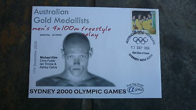 2000 Swimming Team Australian Olympic Gold Medal Win Stamp Alpha Fdc