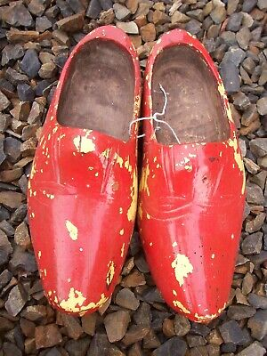 Antique vintage Hand Carved Pair of Dutch Holland Wooden Shoes Clogs red