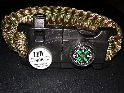 Survival Bracelet - Compass, Paracord, Outdoor Hiking Wristband USA Shipping