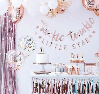 OH BABY ROSE GOLD Twinkle Star Baby Shower Party Gender Reveal Table Decorations