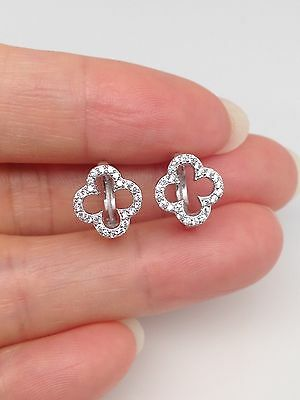 Sterling Silver 925 Small Cz Four Leaf Clover Huggie Hoop Earrings 9mm