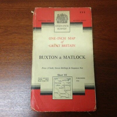 OS Seventh Series One-Inch Map Sheet 111 Buxton and Matlock