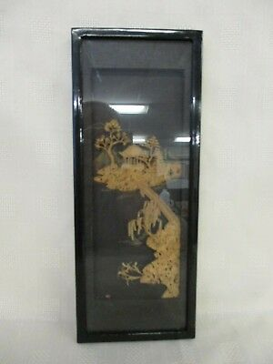 Small Vintage Hand Carved Oriental Wooden Framed Picture, Art Work, Wall Hanging