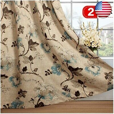 H.VERSAILTEX Vintage Floral with Brown Aqua Taupe Pattern Blackout Living Roo...