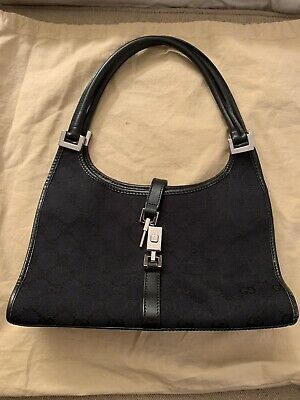 8986422530f5 Authentic GUCCI Jackie O Black Canvas Hobo Shoulder Bag Leather Piston  Silver
